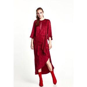 Zara Jacquard Midi Dress in Red